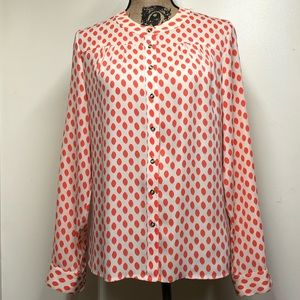 Banana Republic Cream and Fluorescent Dot Blouse S